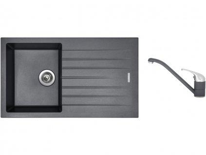 Granitový dřez Sinks PERFECTO 860 Titanium + Dřezová baterie Sinks CAPRI 4 Titanium  + Čistící pasta Sinks na dřezy
