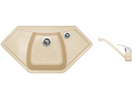 Granitový dřez Sinks NAIKY 980 Sahara + Dřezová baterie Sinks CAPRI 4 Sahara  + Čistící pasta Sinks na dřezy