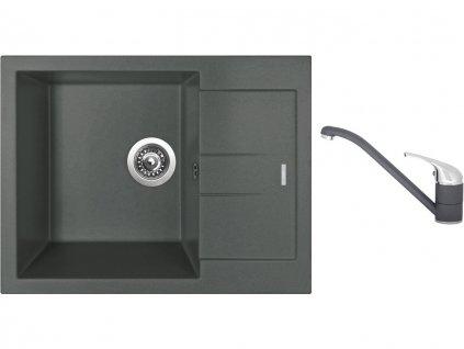 Granitový dřez Sinks AMANDA 650 Titanium + Dřezová baterie Sinks CAPRI 4 Titanium