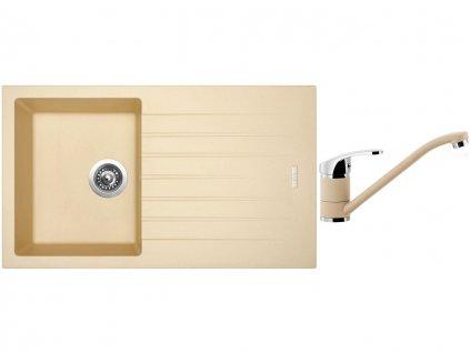 Granitový dřez Sinks PERFECTO 860 Sahara + Dřezová baterie Sinks PRONTO Sahara