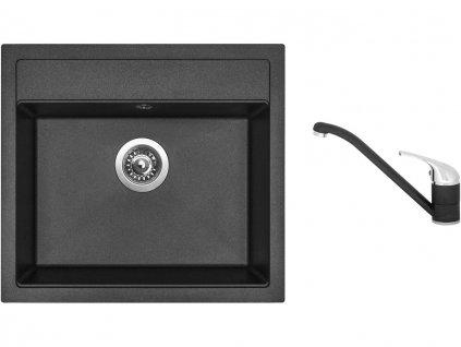 Granitový dřez Sinks SOLO 560 Metalblack + Dřezová baterie Sinks CAPRI 4 Metalblack