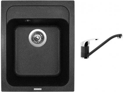 Granitový dřez Sinks CLASSIC 400 Granblack + Dřezová baterie Sinks Pronto Grandblack