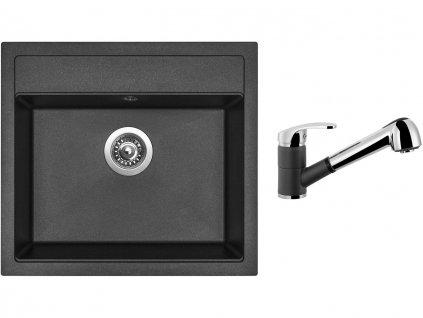Granitový dřez Sinks SOLO 560 Metalblack + Dřezová baterie Sinks LEGENDA S Metalblack  + Čistící pasta Sinks na dřezy