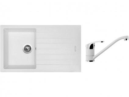 Granitový dřez Sinks PERFECTO 860 Milk + Dřezová baterie Sinks Pronto Milk