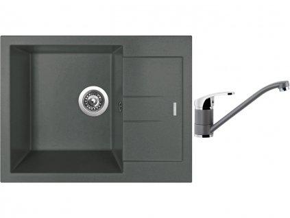 Granitový dřez Sinks AMANDA 650 Titanium + Dřezová baterie Sinks PRONTO Titanium  + Čistící pasta Sinks na dřezy