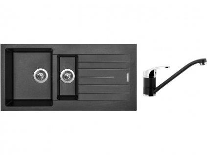 Granitový dřez Sinks PERFECTO 1000.1 Metalblack + Dřezová baterie Sinks PRONTO Metalblack