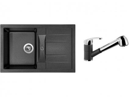 Granitový dřez Sinks CRYSTAL 780 Metalblack + Dřezová baterie Sinks LEGENDA S Metalblack  + Čistící pasta Sinks na dřezy