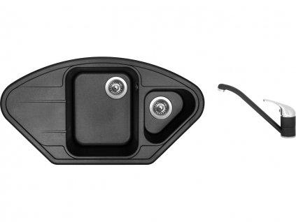 Granitový dřez Sinks LOTUS 960.1 Metalblack + Dřezová baterie Sinks CAPRI 4 Metalblack