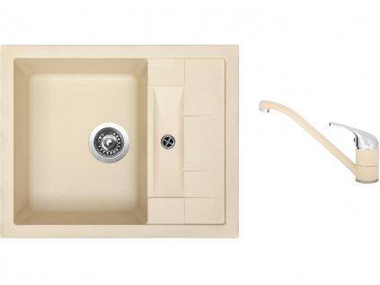 Granitový dřez Sinks CRYSTAL 615 Sahara + Dřezová baterie Sinks CAPRI 4 Sahara  + Čistící pasta Sinks na dřezy