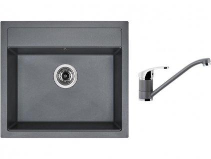 Granitový dřez Sinks SOLO 560 Titanium + Dřezová baterie Sinks PRONTO Titanium