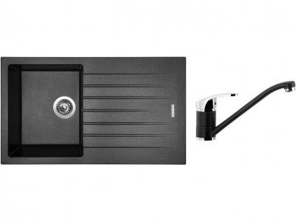 Granitový dřez Sinks PERFECTO 860 Metalblack + Dřezová baterie Sinks PRONTO Metalblack