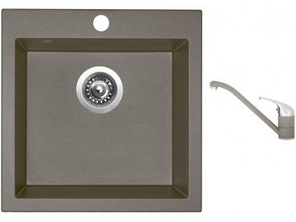 Granitový dřez Sinks VIVA 455 Truffle + Dřezová baterie Sinks CAPRI 4 Truffle