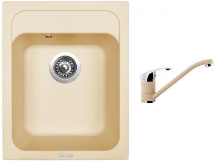 Granitový dřez Sinks CLASSIC 400 Sahara + Dřezová baterie Sinks PRONTO Sahara  + Čistící pasta Sinks na dřezy