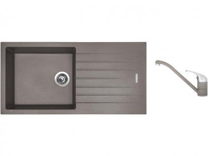 Granitový dřez Sinks PERFECTO 1000 Truffle + Dřezová baterie Sinks CAPRI 4 Truffle  + Čistící pasta Sinks na dřezy