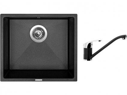 Granitový dřez Sinks FRAME 457 Metalblack + Dřezová baterie Sinks PRONTO Metalblack  + Čistící pasta Sinks na dřezy