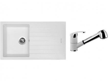 Granitový dřez Sinks PERFECTO 860 Milk + Dřezová baterie Sinks LEGENDA S Milk