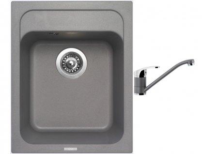 Granitový dřez Sinks CLASSIC 400 Titanium + Dřezová baterie Sinks PRONTO Titanium