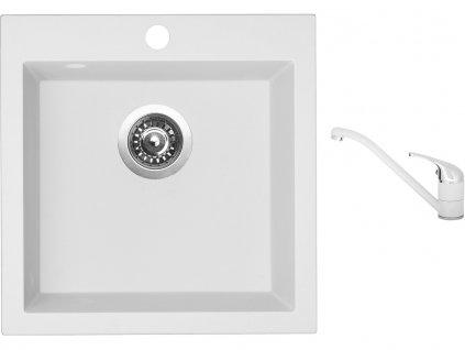 Granitový dřez Sinks VIVA 455 Milk + Dřezová baterie Sinks CAPRI 4 Milk  + Čistící pasta Sinks na dřezy