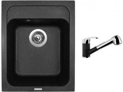 Granitový dřez Sinks CLASSIC 400 Granblack + Dřezová baterie Sinks LEGENDA S Granblack  + Čistící pasta Sinks na dřezy