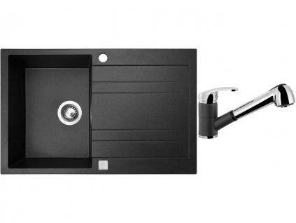 Granitový dřez Sinks GRANDE 800 Metalblack + Dřezová baterie Sinks LEGENDA S Metalblack
