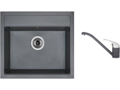 Granitový dřez Sinks SOLO 560 Titanium + Dřezová baterie Sinks CAPRI 4 Titanium