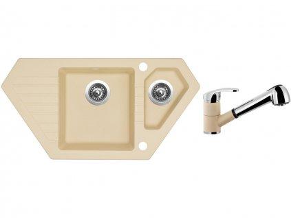 Granitový dřez Sinks BRAVO 850.1 Sahara + Dřezová baterie Sinks LEGENDA S Sahara