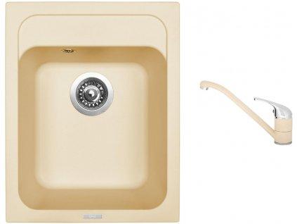 Granitový dřez Sinks CLASSIC 400 Sahara + Dřezová baterie Sinks CAPRI 4 Sahara  + Čistící pasta Sinks na dřezy