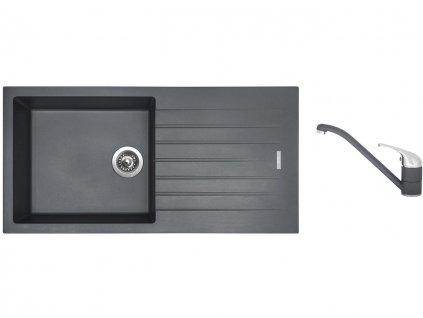 Granitový dřez Sinks PERFECTO 1000 Titanium + Dřezová baterie Sinks CAPRI 4 Titanium