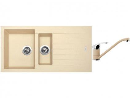 Granitový dřez Sinks PERFECTO 1000.1 Sahara + Dřezová baterie Sinks PRONTO Sahara