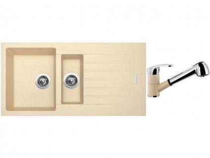 Granitový dřez Sinks PERFECTO 1000.1 Sahara + Dřezová baterie Sinks LEGENDA S Sahara  + Čistící pasta Sinks na dřezy
