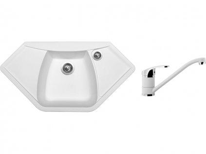 Granitový dřez Sinks NAIKY 980 Milk + Dřezová baterie Sinks Pronto Milk  + Čistící pasta Sinks na dřezy