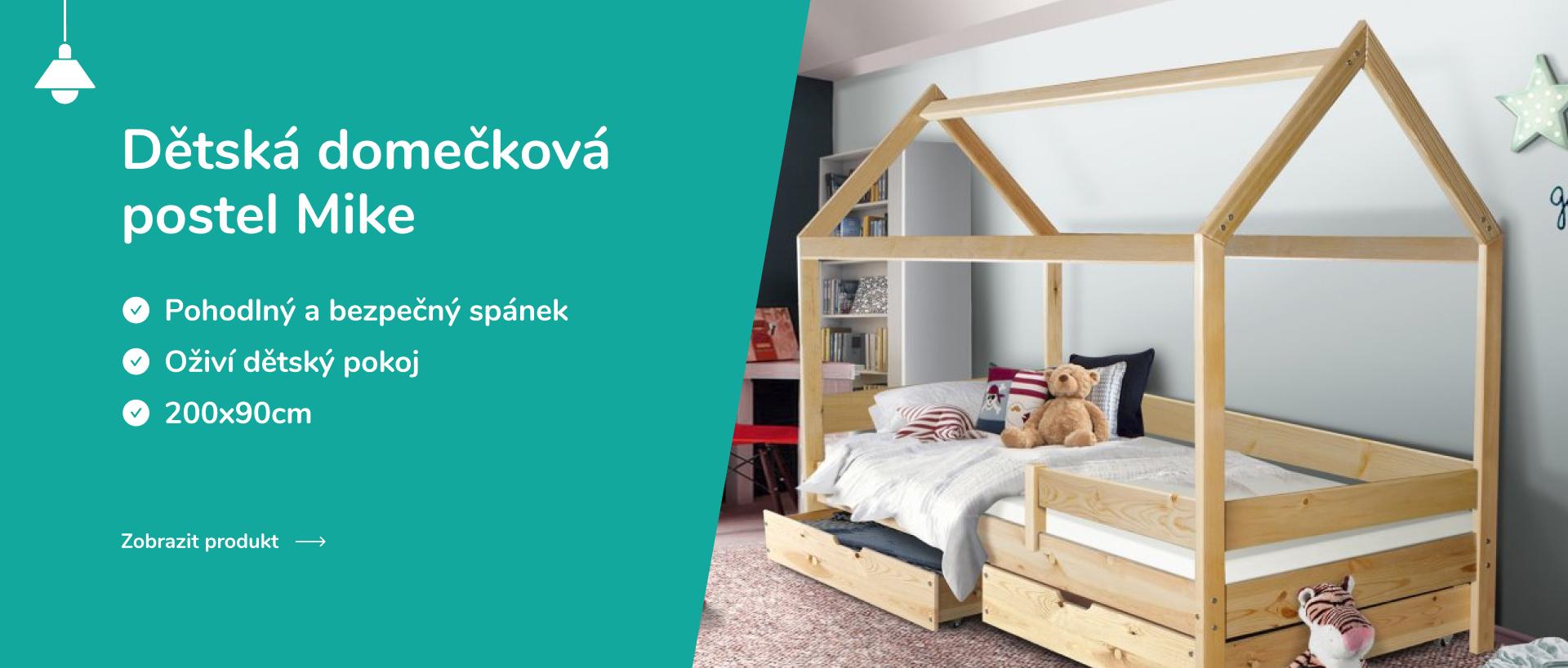 Dětská domečková postel Mike přírodní