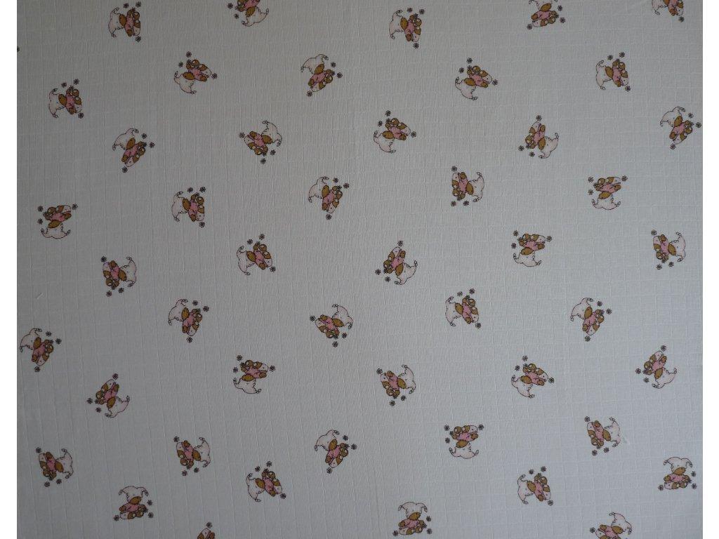 Tetra osuška TISK 90x100 cm medvídek růžový 1ks