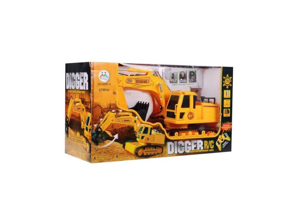 Buldozer s rypadlem žlutý