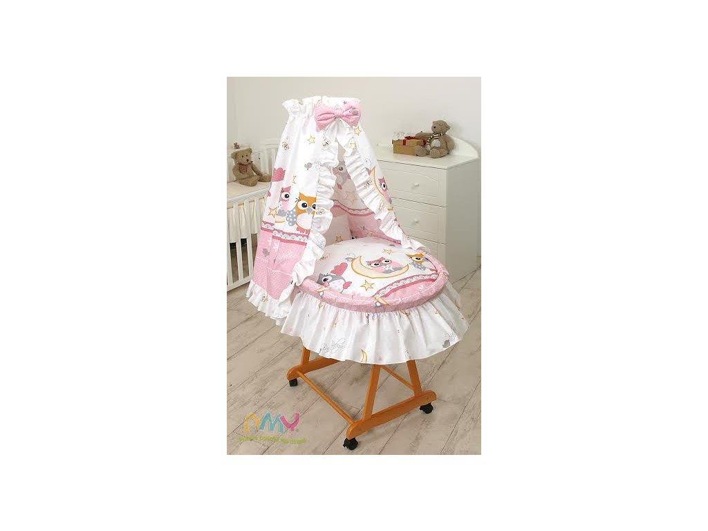 Proutěný košík pro miminko s kompletním vybavením Růžové sovy