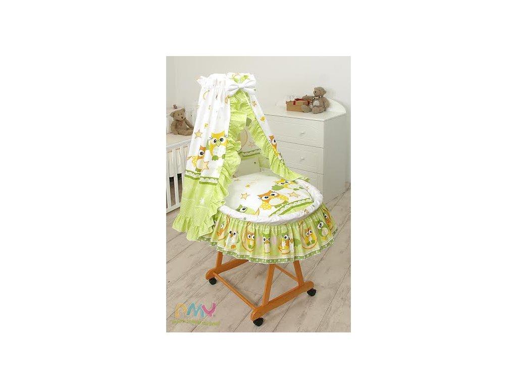 Proutěný košík pro miminko s kompletním vybavením Zelené sovy