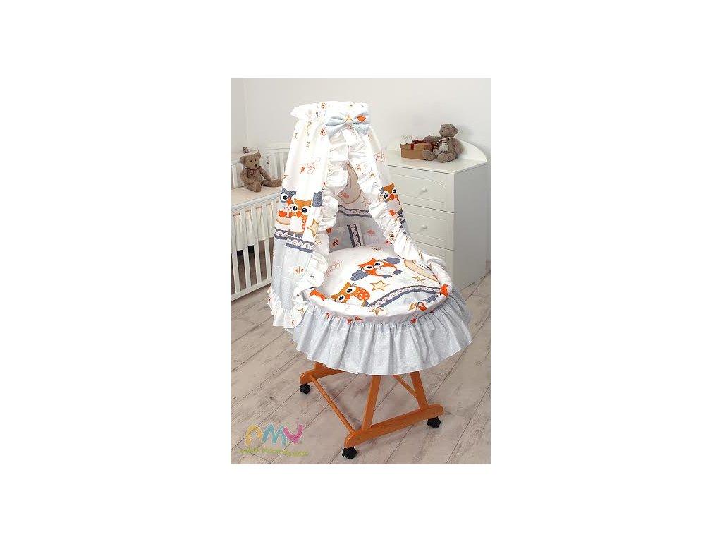 Proutěný košík pro miminko s kompletním vybavením Šedé sovy