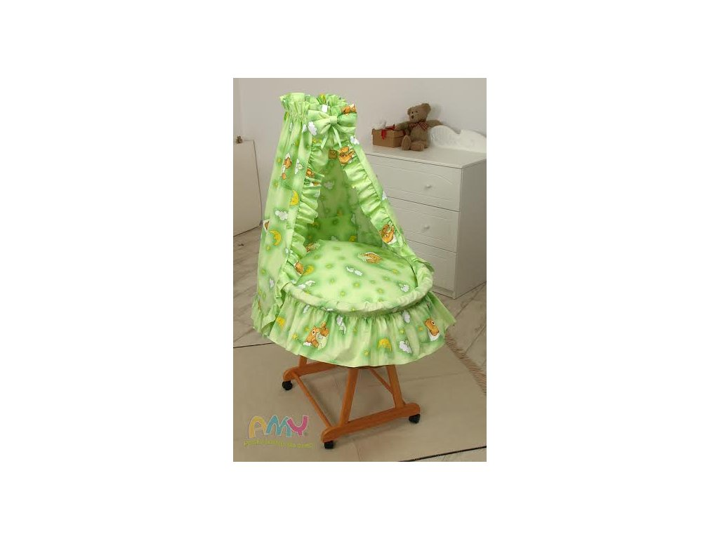 Proutěný košík pro miminko s kompletním vybavením Zelený medvídek