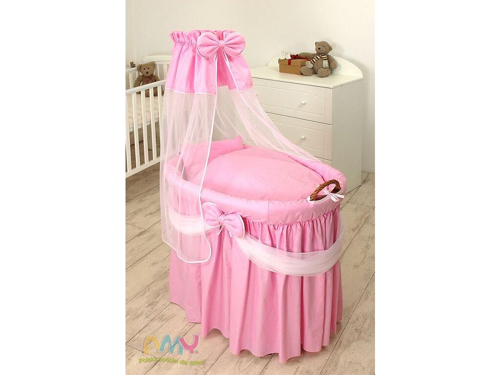 Proutěný košík pro miminko s kompletním vybavením Sissi Princess růžový