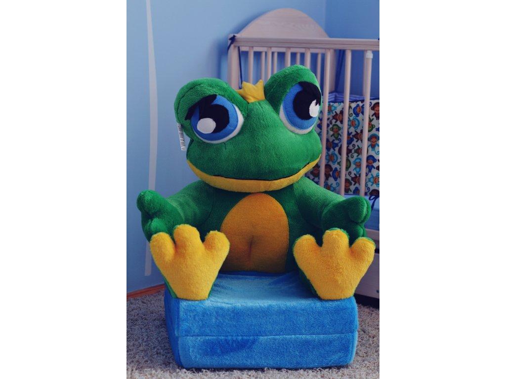 Dětské plyšové rozkládací křesílko Žába