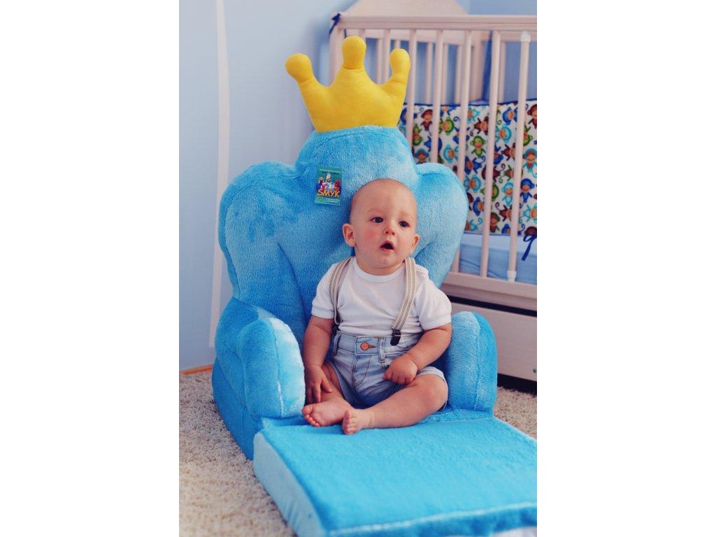 Dětské plyšové rozkládací křesílko Princ - trůn modrý