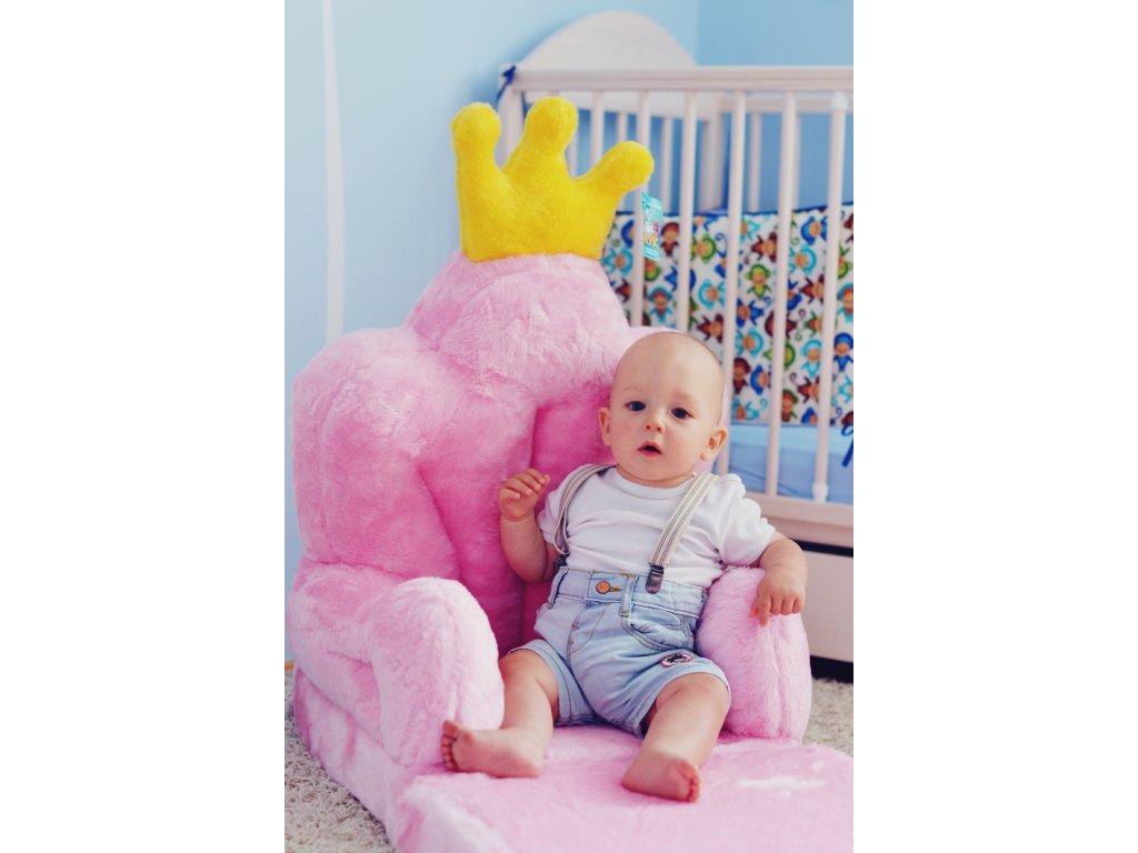 Dětské plyšové rozkládací křesílko Princezna - trůn růžový