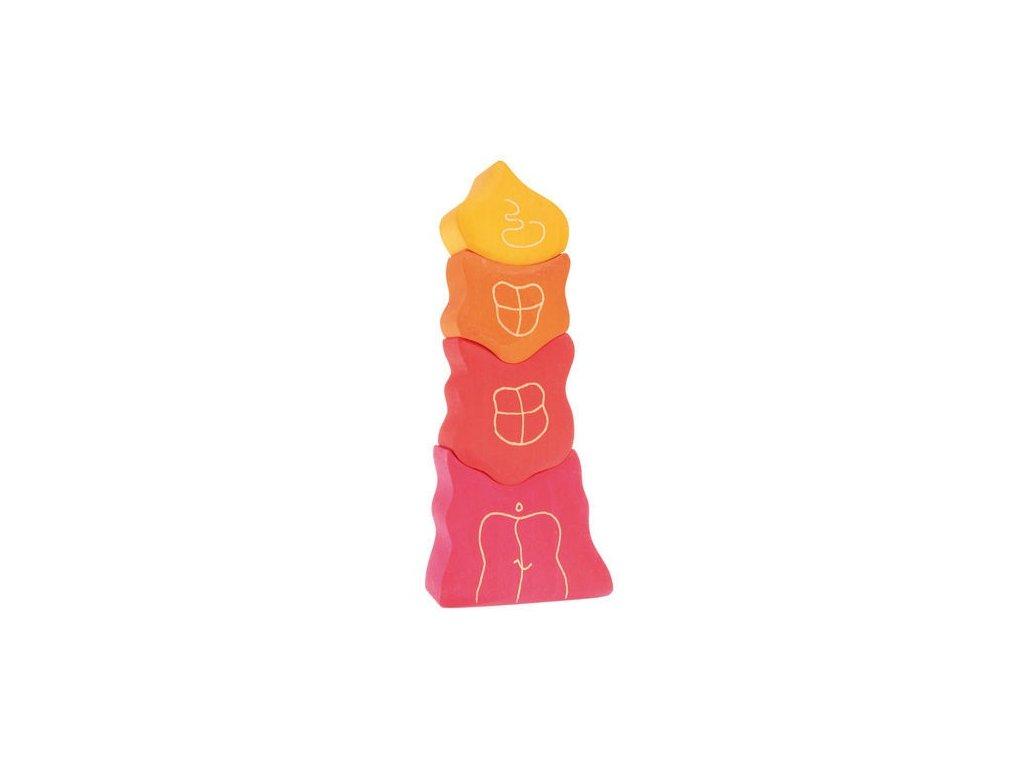 Trpasličí vesnička stavební kostky - růžičková věž, 4 díly