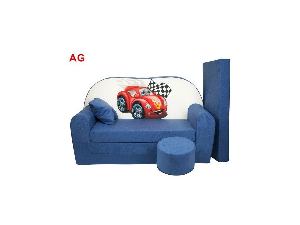 Dětská sedací rozkládací souprava s bobkem modrá - červené auto AG