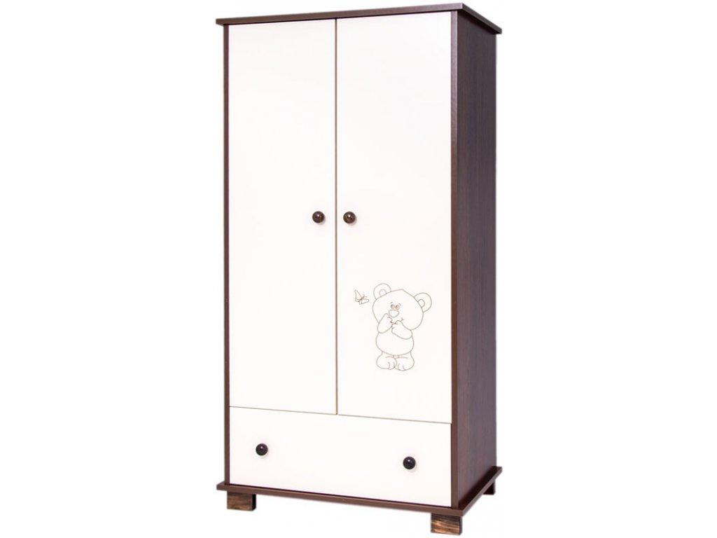 drewex dvoudvéřová skříň medvídek a motýl ořeh