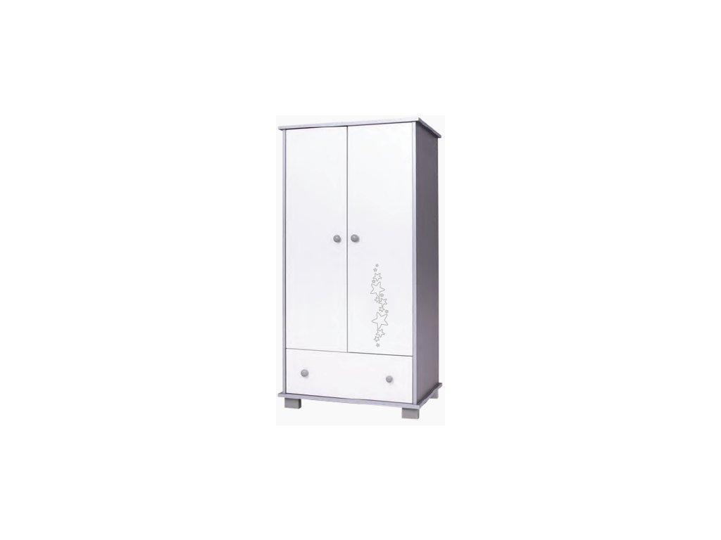 drewex dvoudvéřová skříň hvězdy šedá