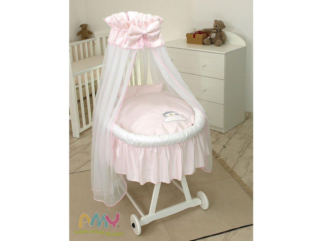 Proutěný košík pro miminko s kompletním vybavením bílý - Ježek růžový