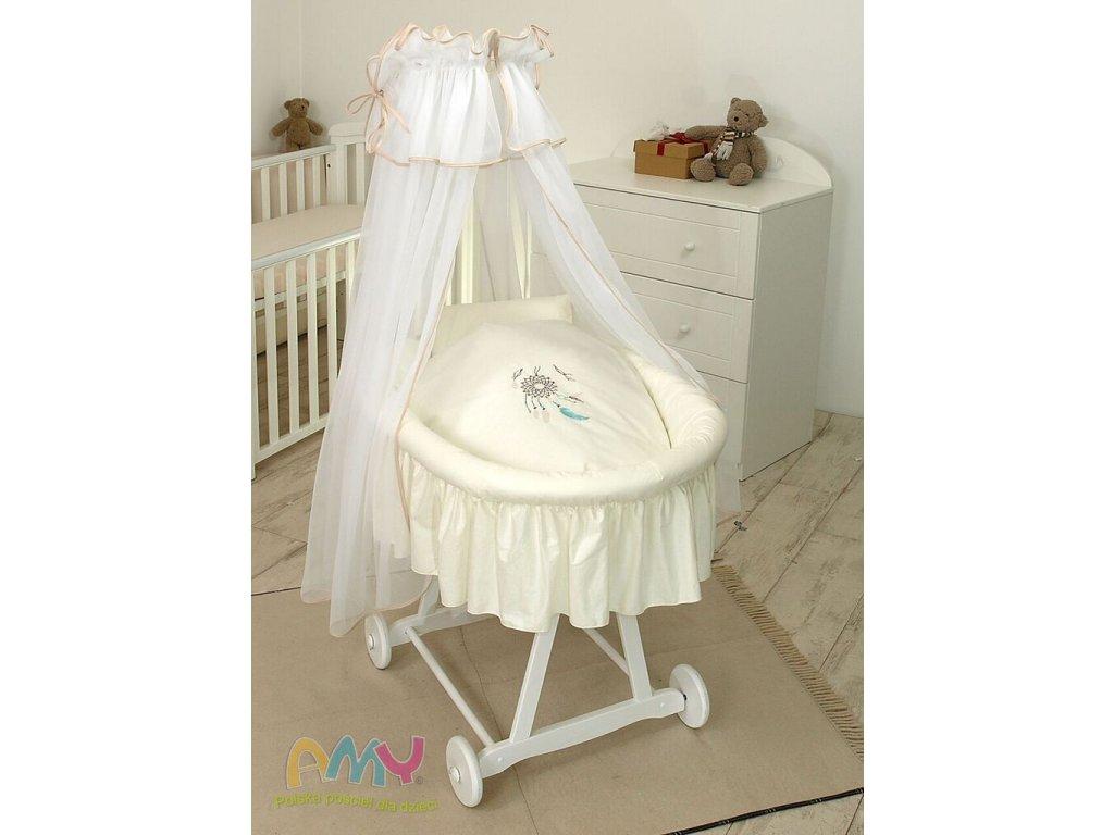 Proutěný košík pro miminko s kompletním vybavením bílý - Lapač snů béžový