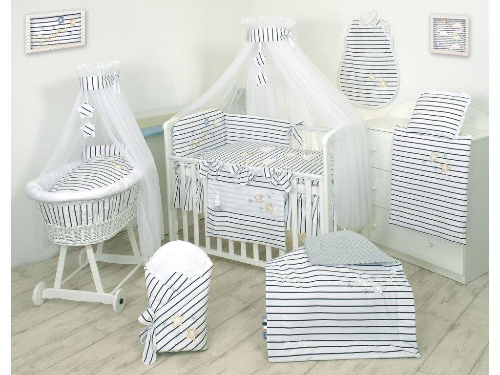 Proutěný košík pro miminko s kompletním vybavením bílý - Dreams Silver
