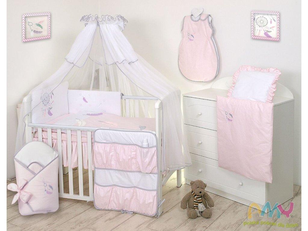 Proutěný košík pro miminko s kompletním vybavením bílý - Lapač snů růžový/šedý
